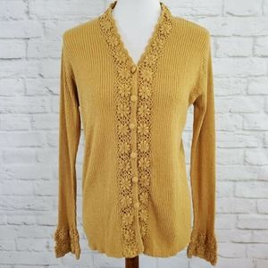 April Cornell Ribbed Cardigan Sweater Gold Crochet